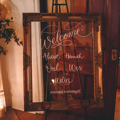 Modern Handlettered Acrylic Welcome Sign with Gold Deco Frame