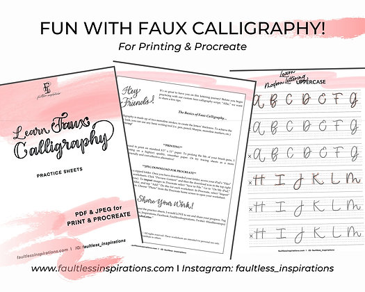 """Allie"" Faux Calligraphy Practice Sheets 