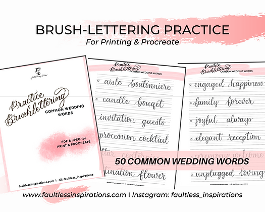 Wedding Brushlettering Practice Sheets | Brush-calligraphy Practice Guide
