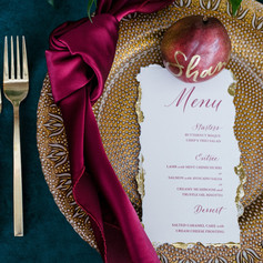Modern Burgandy and Gold Hand-lettered Dinner Menu and Placecard