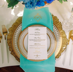 Gold Foil Calligraphy Dinner Menu