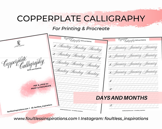 Months, Days Calligraphy Practice Sheets | Calligraphy Practice Guide