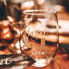 Modern Calligraphy Personalized Etched Stemless Wineglass