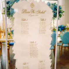 White and Gold Wedding Acrylic Seating Chart with Calligraphy
