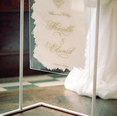 White and Gold Wedding Welcome Sign with Calligraphy