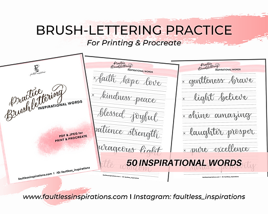 Brushlettering Inspirational Words Practice Sheets | Brush Calligraphy Practice