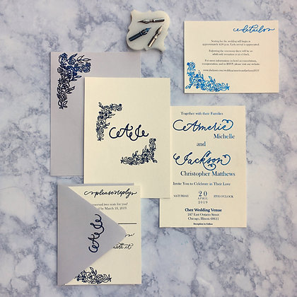 Semi-Custom Floral Invitation Suite | Wedding Invitations