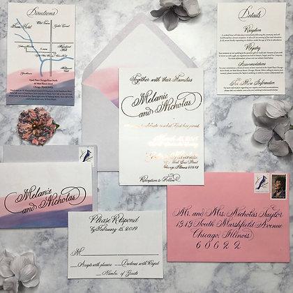 Semi-Custom Foil Invitation Suite with Calligraphy