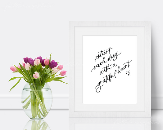 Start Each Day with a Grateful Heart | Morning Motivation Wall Art
