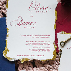 Burgandy, Blue and Gold CustomW Invitation Suite