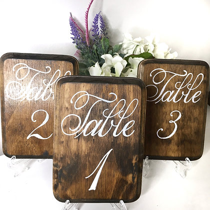"4Pc Woodstained Table Numbers (5"" x 7"")"