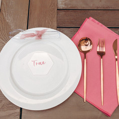Pink Handletted Acrylic Placecards