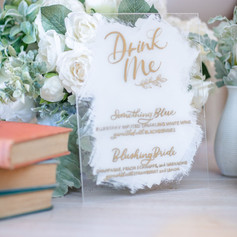 White and Gold Hand-lettered Drink Menu