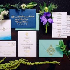 Custom Blue and Gold Wedding Invitation Suite