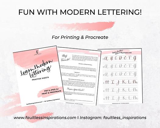"""Lillie"" Modern Lettering Practice Sheets | Learn Modern Lettering"