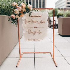 Rose Gold and White Hand-lettered Event Welcome Sign
