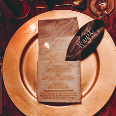 Modern Calligraphy Gold Dinner Menu and Magnolia Leaf Placecard