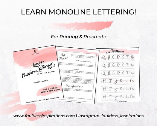 """Lillie"" Monoline Modern Lettering Practice Sheets"