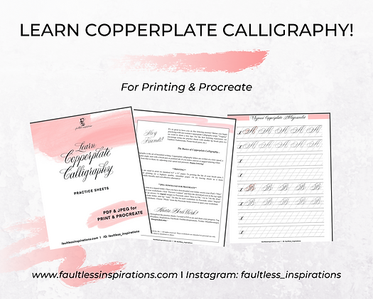 """Virginia"" Copperplate Calligraphy Practice Sheets 