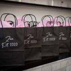 Hand-lettered White and Black Gift Bags with Vinyl Lettering