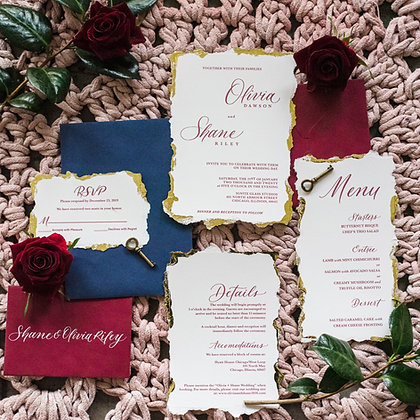 Deckled Edge Wedding Semi Custom Invitation Suite