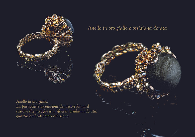 Anello ossidiana dorata