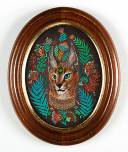 """Maryann Held """"The Seer"""" (2021) acrylic and gold ink on board 7.5"""" x 10"""" oval framed to 11"""" x 13.5"""" • SOLD •"""
