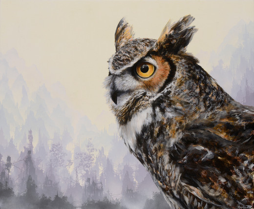 """""""Great Horned Owl before a Purple City"""""""