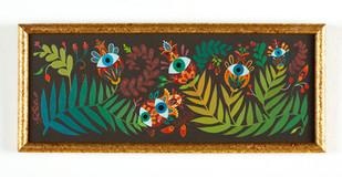 """Maryann Held """"Eyeris Garden"""" (2021) acrylic on board 11"""" x 4.5"""" in frame $225 USD"""