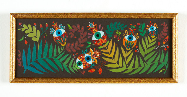 "Maryann Held ""Eyeris Garden"" (2021) acrylic on board 11"" x 4.5"" in frame $225 USD"
