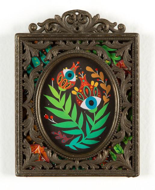 """Maryann Held """"Secret Garden"""" (2021) acrylic on board in vintage frame 4"""" x 5.5"""" • SOLD •"""