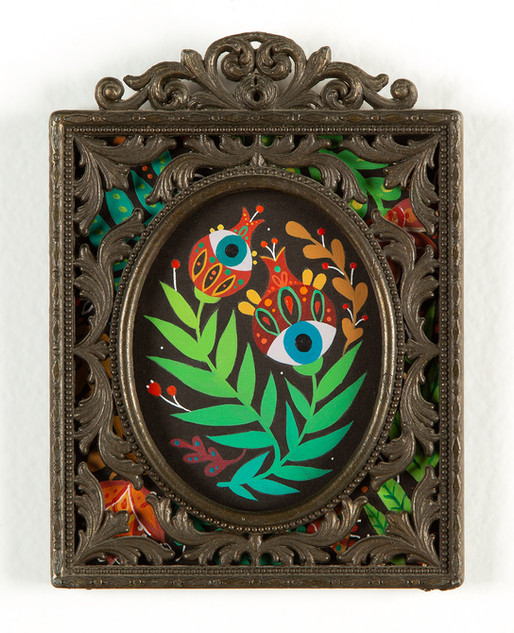 "Maryann Held ""Secret Garden"" (2021) acrylic on board in vintage frame 4"" x 5.5"" • SOLD •"