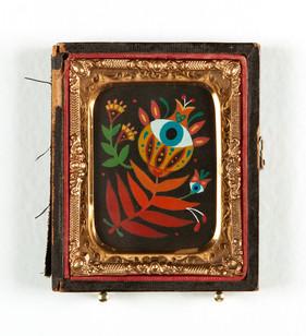 """Maryann Held """"Eyeris"""" (2021) acrylic on board in daguerreotype case 2.5"""" x 3"""" $175 USD"""