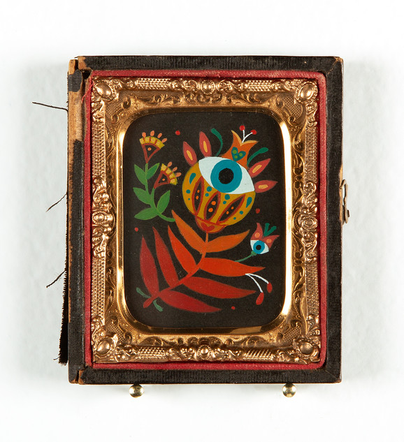 "Maryann Held ""Eyeris"" (2021) acrylic on board in daguerreotype case 2.5"" x 3"" $175 USD"