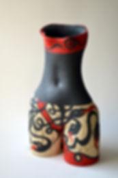 ceramic vase, ceramic, female torso, red and black,