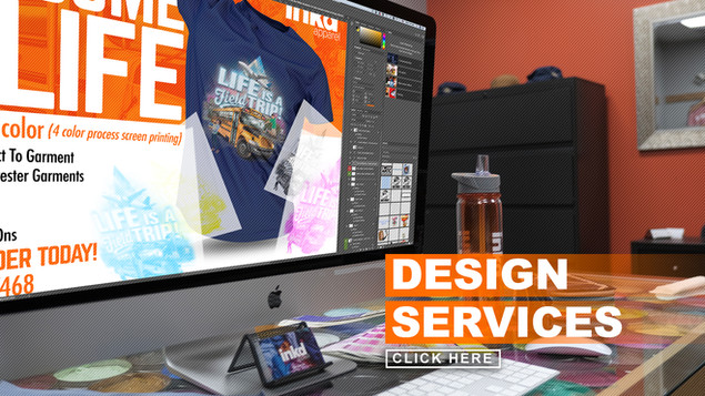 Inkd Apparel has a whole design studio at your disposal. From creating school spirit wear, to making retail quality designs, and even making your company logo stand out—our master artists have decades of experience to help make your idea a reality. Contact a representative for a quote.