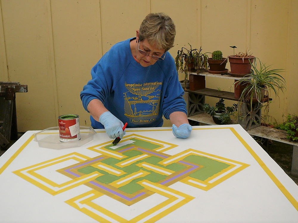 Mary Sue Rhoads making progress today on a great Quilt Block