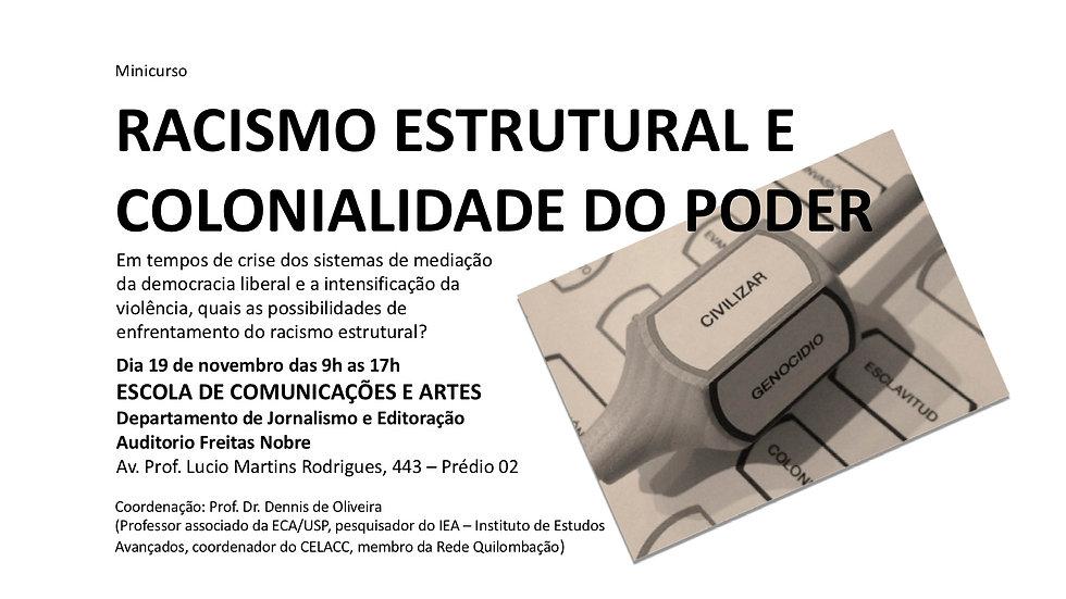 Minicurso RACISMO ESTRUTURAL E COLONIALIDADE DO PODER