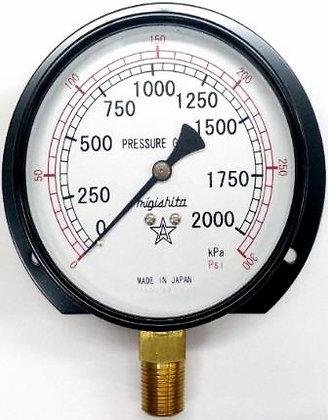 MIGISHITA S42 黑鐵殼壓力表 pressure gauge