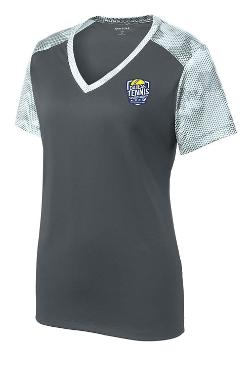 Ladies Sport-Tek® CamoHex Colorblock V-Neck Tee