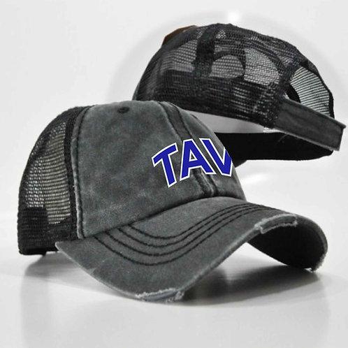 DISTRESSED BLACK TRUCKER HAT - EMBROIDERED TAV Logo