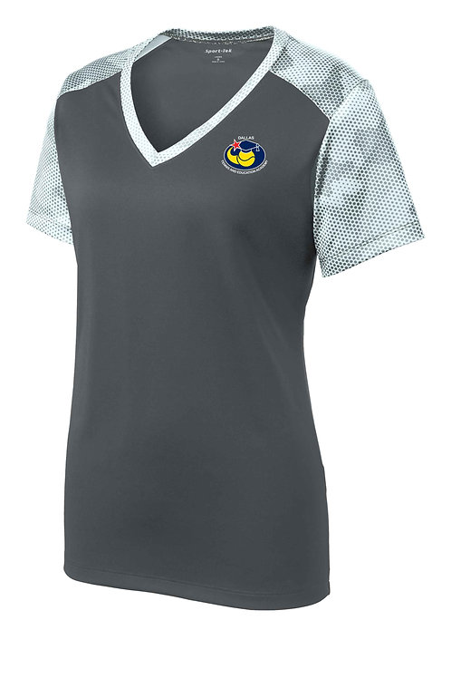 Ladies Sport-Tek® CamoHex Colorblock V-Neck Tee
