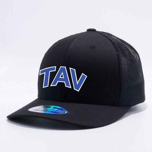 MEN'S BLACK TRUCKER HAT - EMBROIDERED TAV Logo