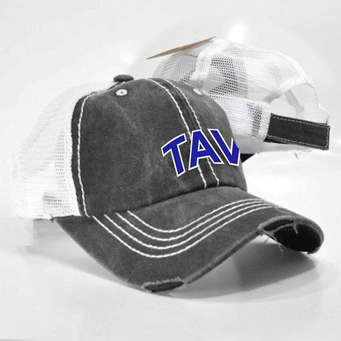 DISTRESSED BLACK AND WHITE TRUCKER HAT - EMBROIDERED TAV Logo