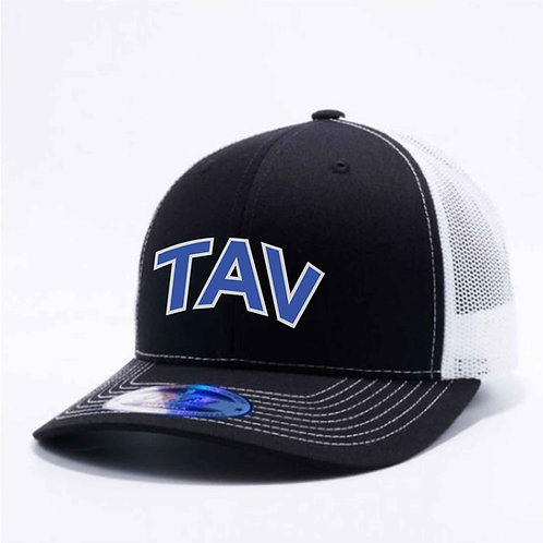MEN'S BLACK AND WHITE TRUCKER HAT - EMBROIDERED TAV Logo