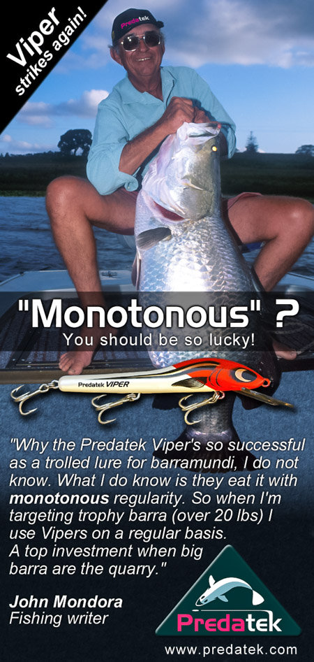 Late 1990's magazine advertisement promotingthe succss of the Predatek V150 Viper fishing lure, notable for catching barramundi