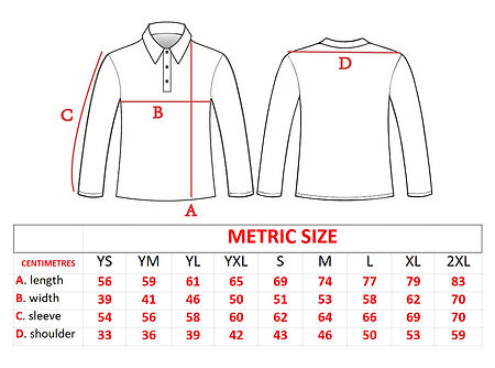 Predatek fishing shirt size chart