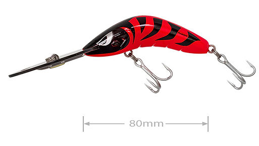 Predatek B80UD Boomerang fishing lure in Crimson Tiger colours