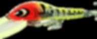 Predatek V150XKT (Kakadu Tiger) fishing lure with a glow-in-the-dark bib