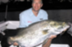 Fishing writer Neil Schultz with a trophy barramundi caught on a Predatek Viper fishing lure.